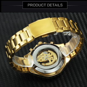 Image 4 - WINNER Official Vintage Fashion Men Mechanical Watches Metal Strap Top Brand Luxury Best Selling Vintage Retro Wristwatches +BOX