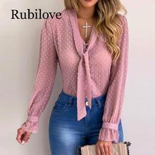 Rubilove Plus Size Women Elegant Bow Tie Neck Polka Dot Blouse 2019 Spring Casual Pearls Button Blouses Office Lady Workwear Blo