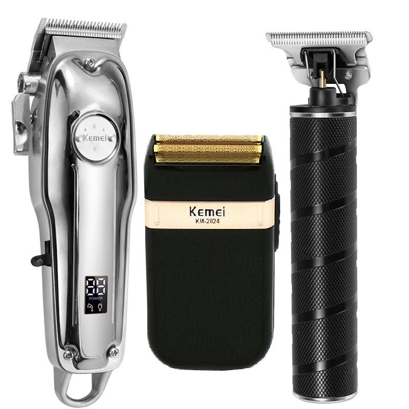 Kemei All Metal Professional Electric Hair Clipper Rechargeable Hair Trimmer Haircut Shaving Machine KM-1986+PG KM-T9 KM-2024