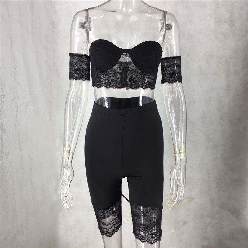 H39468d32b2f54b6b926d97e5abdc0a82J - WUHE Lace Patchwork Sexy Spaghetti Strap Jumpsuits Women Off Shoulder Sleeveless Elegant Bodycon Bandage Party Short Playsuits