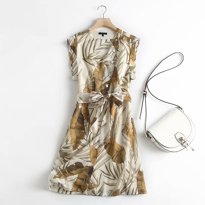 Женское Короткое платье без рукавов, офисное платье с цветочным принтом и пуговицами, платье с вырезом лодочкой, лето 2021