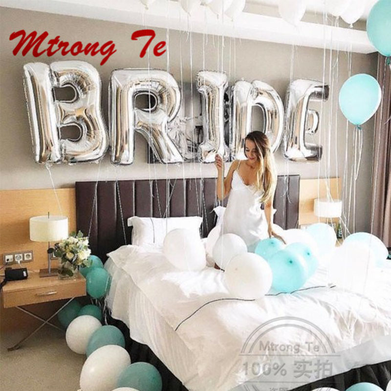 5pcs/lot 30inch Silver Gold Bride To Be Letter Foil Balloons Diamond Helium Balloon Wedding Valentine's Day Party Decoration