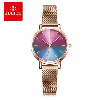 Julius Uhr Neue Design Kreative Gradient Dial Frauen Fantastische Kleid Uhr Edelstahl Mesh Band Rose Gold Whatch JA-1163