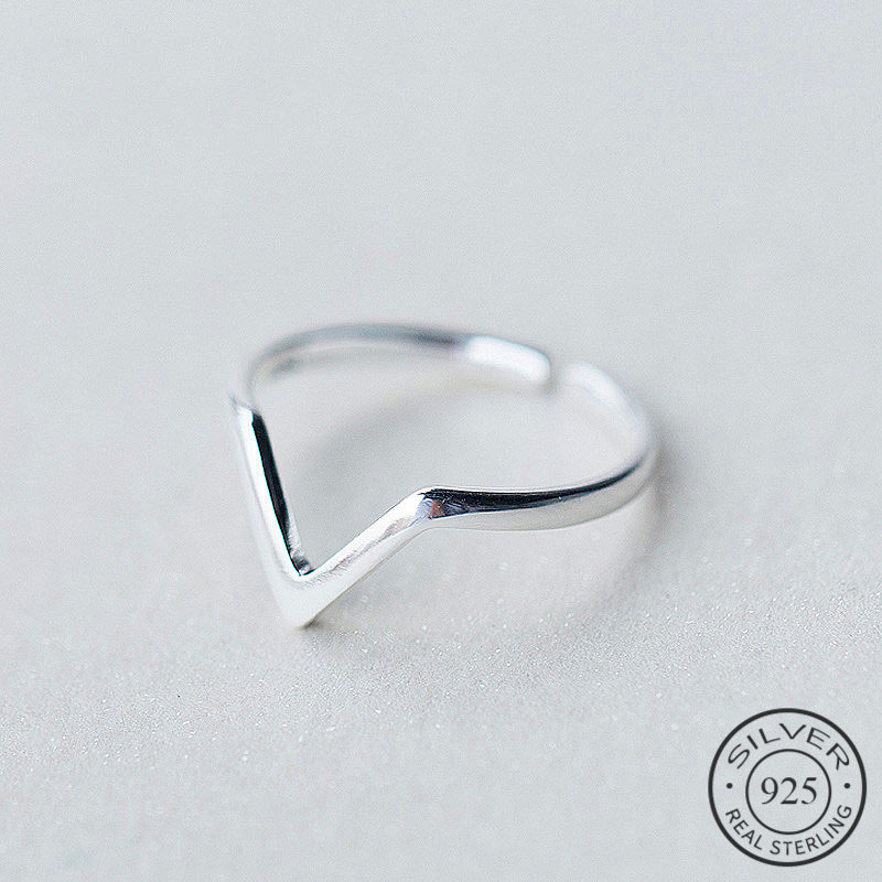 Real 925 Sterling Silver Geometric Wave Letter V Adjustable Ring Fine Jewelry For Women Party Personality Accessories