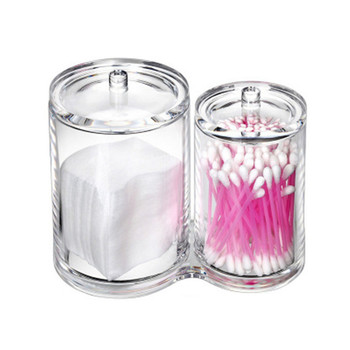 1pc Acrylic Multifunctional Round Container Cosmetic Makeup Cotton Pad Organizer Jewelry Storage Box Holder And Candy Jars