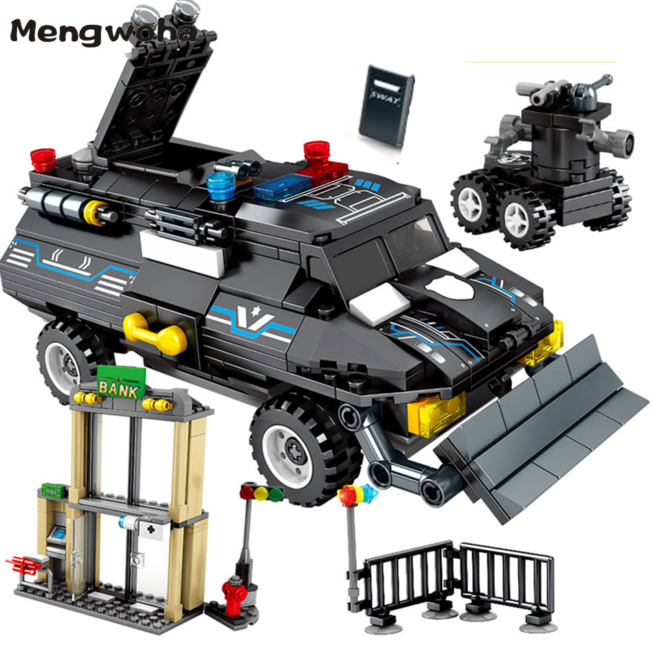 549pcs Police Armored truck Building Blocks SWAT Military vehicle brick Car With 4 policemen figure Toys for children