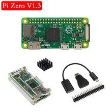 Оригинальная плата Raspberry Pi Zero V 1,3, 1 ГГц, процессор, 512 МБ ОЗУ, Версия Raspberry Pi Zero 1,3, акриловый чехол, алюминиевый радиатор