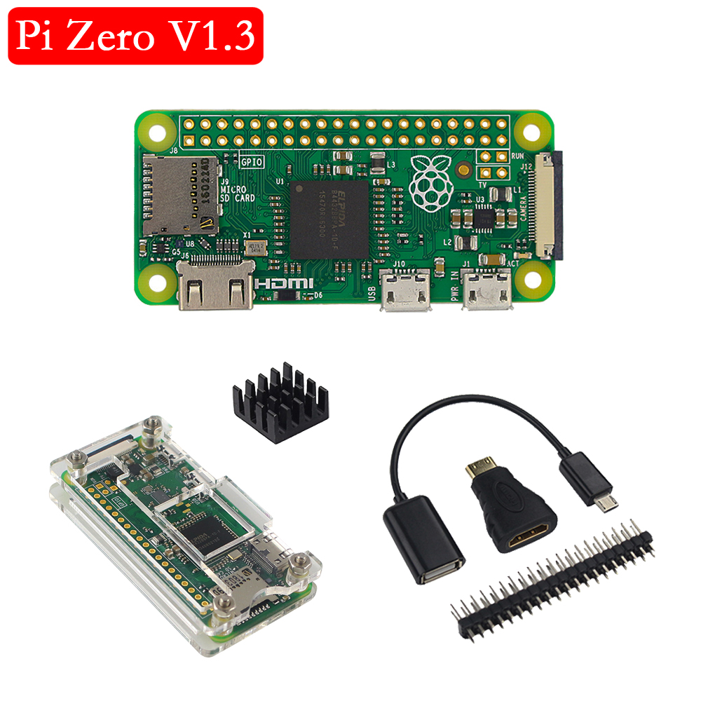 Original Raspberry Pi Zero V 1.3 Board 1GHz CPU 512MB RAM Raspberry Pi Zero 1.3 Version With Acrylic Case Aluminum Heat Sink