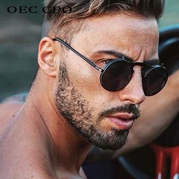 цена на Fashion Flip Up Steampunk Sunglasses Men Retro Metal Frame Round Sun Glasses Women Men Punk Style Sunglass UV400 O7