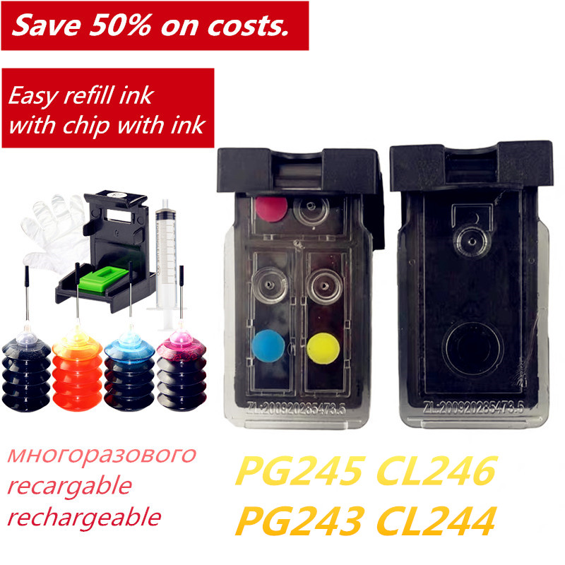 Popular In The Americas PG 245 CL 246  Refillable Ink Cartridges For IP2820 MG2420 MG2520 MG2920 MX492 Printer