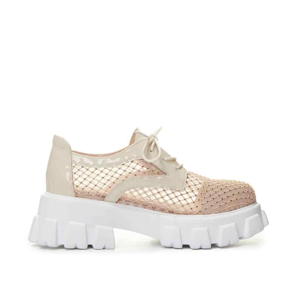 Vichelo ホット 2020 夏必須のブランドの靴のラウンド空気メッシュ日焼け韓国ストリートプリティガールズ女性パンプス l27