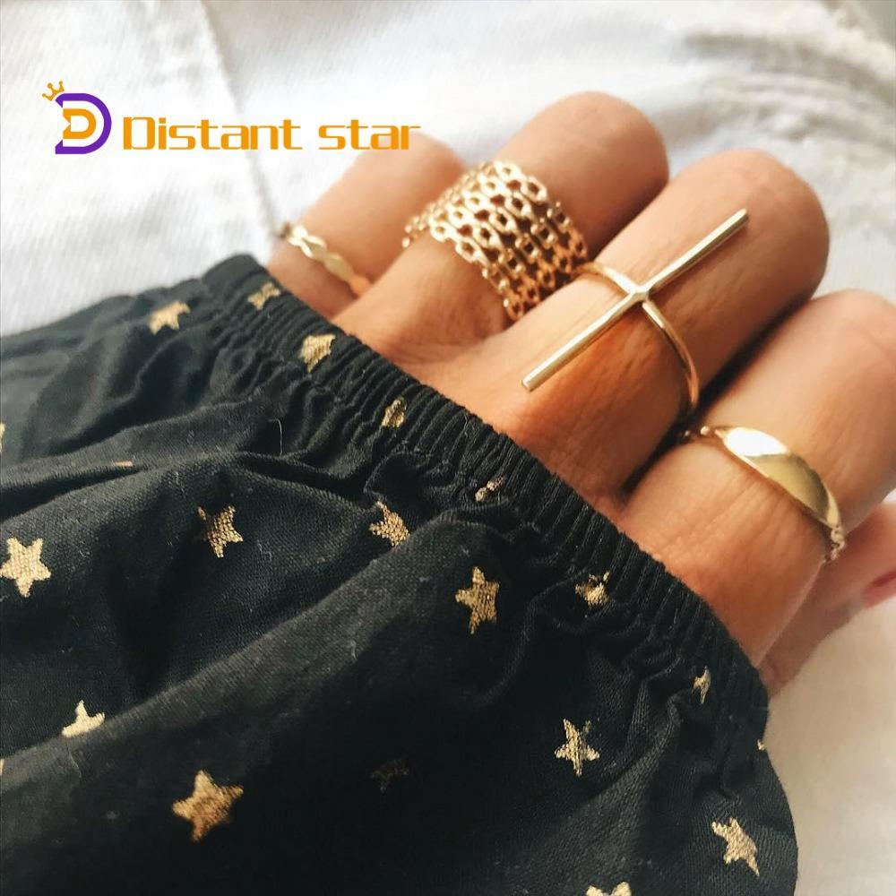 Vintage or couleur géométrique T forme anneaux ensemble pour femmes fille métal Knuckle Midi doigt anneaux Anillos bijoux 7 pièces