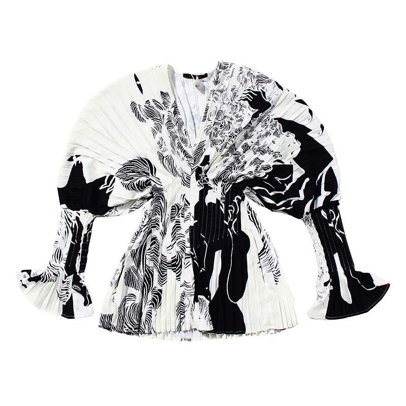 Hot DealsLong-Sleeve Fit-Shirt Pleated-Split White Big-Size EAM Fashion Women Spring V-Collar