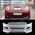 FRP DAG бампер для F56 Mini Cooper S DAG style Ver 2 1 углеродного/стекловолокна передний бампер (с противотуманный чехол для фар  светодиодный) Комплект кузо...