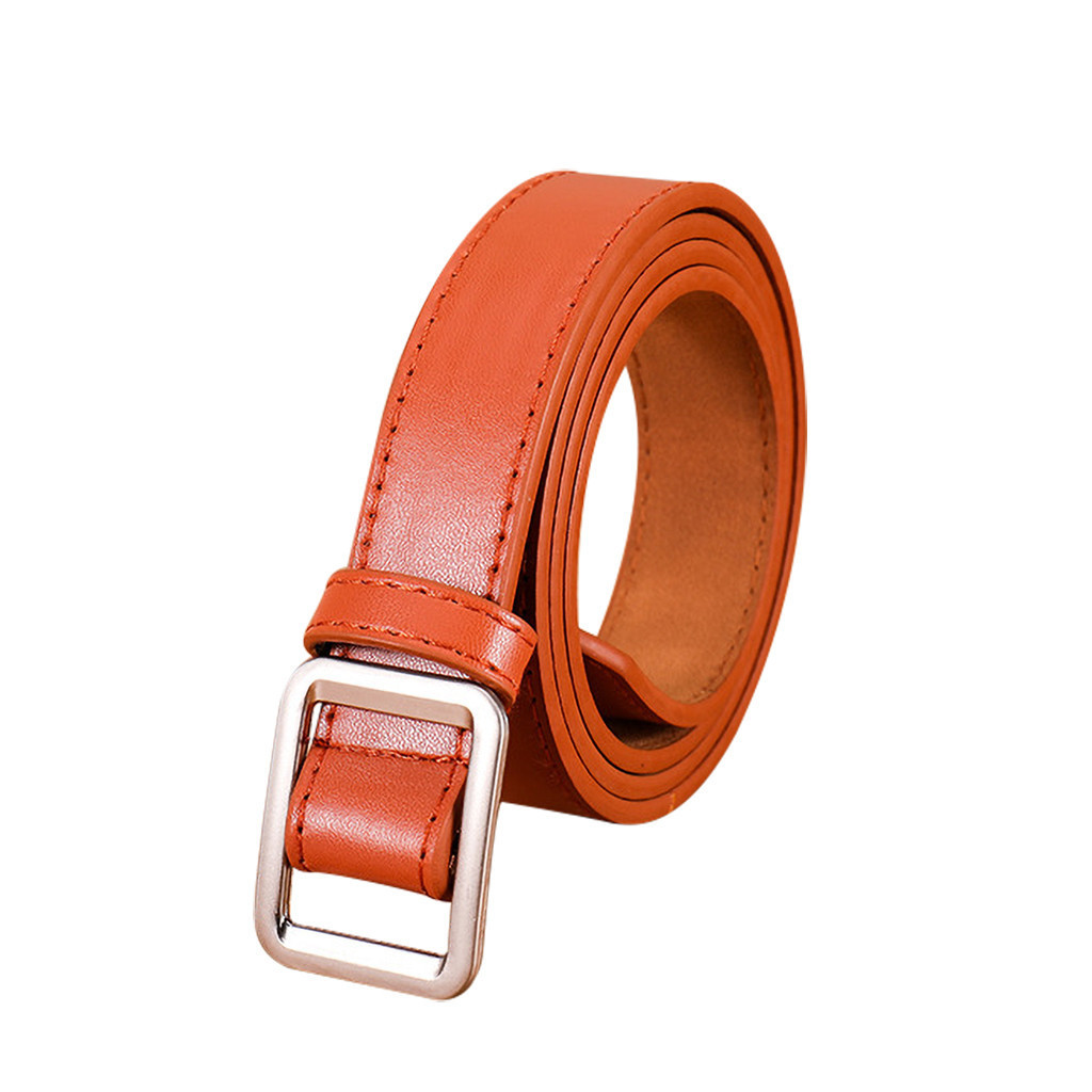 Square Buckle Women Belt Simple Solid Color Vintage Students Waistband Adjust Fashion Casual No-hole Fashion Female Cummerbunds