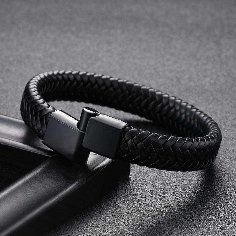 Punk Men Jewelry Black/Brown/Red Braided Leather Bracelet Magnetic Clasp Fashion Bangles Restoring ancient ways couple