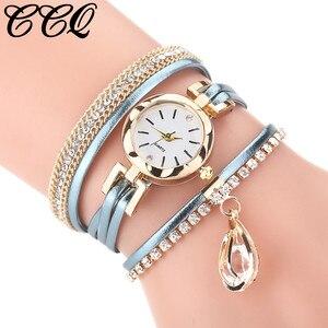 Vintage Water Drop Pendant Bracelet Dial Women's Luxury Leather Band Analog Quartz WristWatch Ladies Watch Women Dress Reloj
