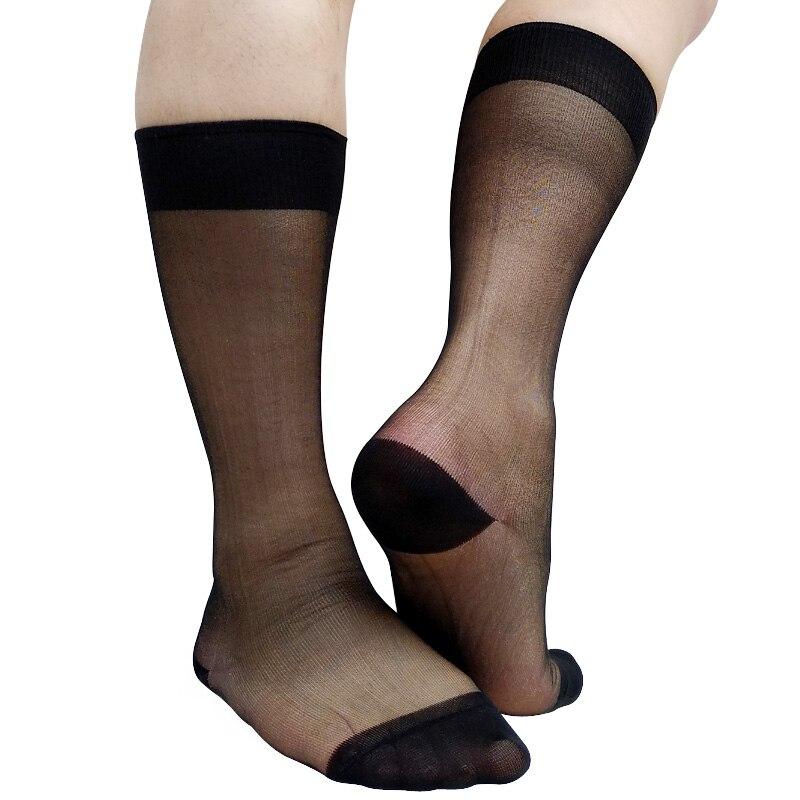 Sheer Black Sexy Formal Dress Socks For Mens Stockings See Through Gay Male Hose Socks Fashion Gentlmen Sock Gifts