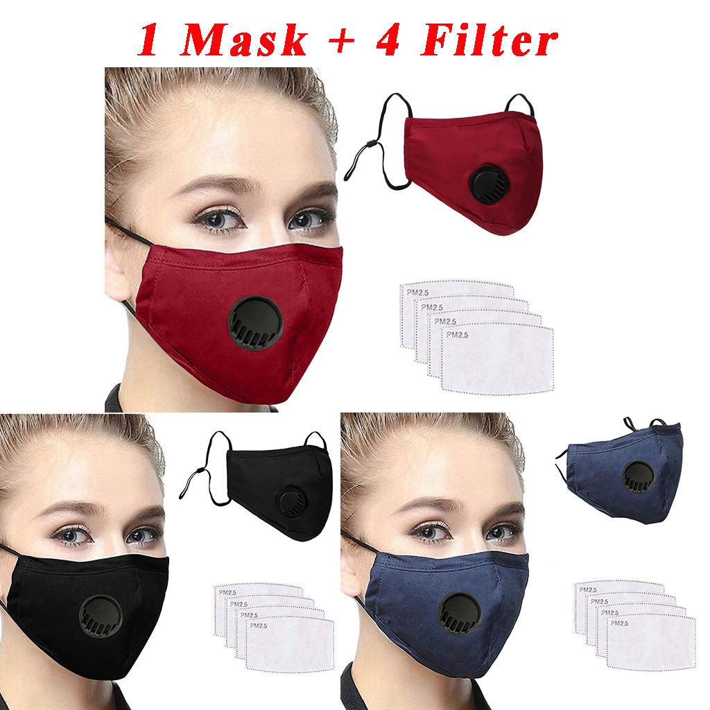 PM2.5 Mouth Mask Dust Mask Carbon Filters Masks Dustproof Windproof Washable Reusable Cotton Mouth Face Masks Respirators