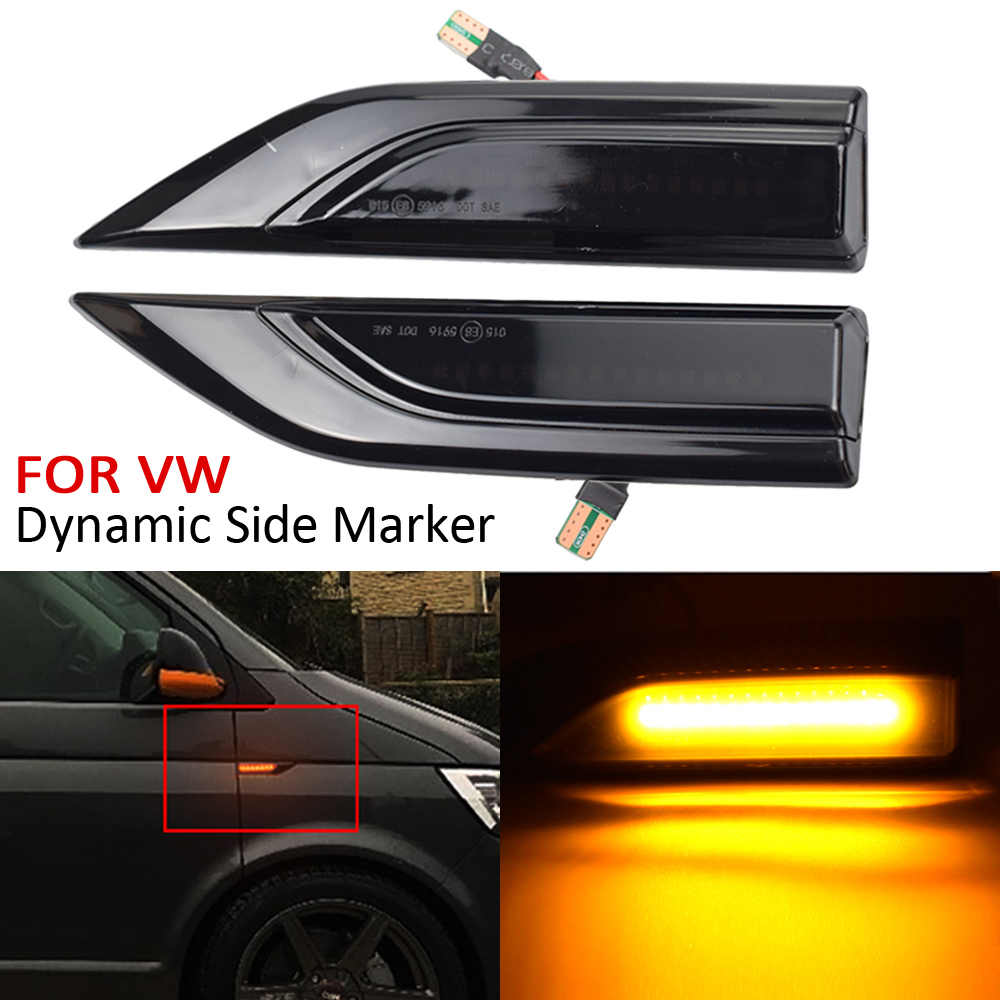 negro Luz de se/ñal de giro de marcador lateral din/ámico LED para VW T5 intermitentes de luz de se/ñal de flujo repetidores