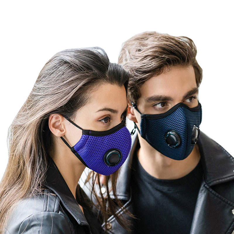 Double Breath Valve Face Mask 5 Layers Protective Reusable Respirator Activated Carbon Filter Anti Dust / Haze Pm2.5 Mouth Mask