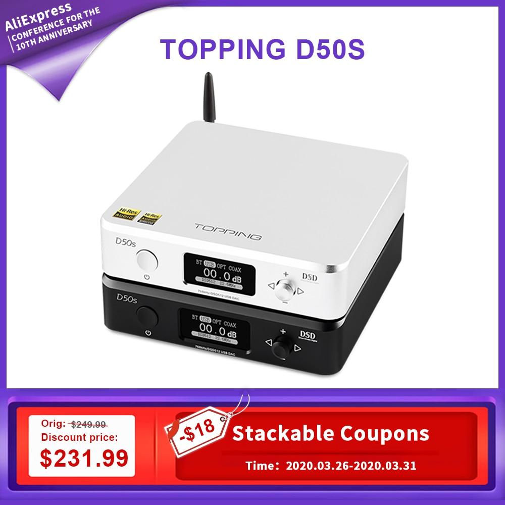 Topping D50S dac audio amp hifi amplifier audio decoder es9038q2m dsd usb dac amp portable decodificador amplifiers XMOS XU208|Digital-to-Analog Converter| |  -