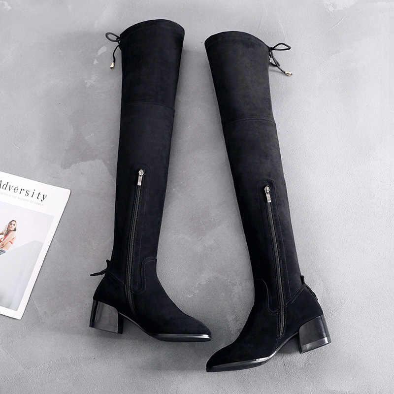 Lange laarzen vrouwen winter schoenen womens winter laarzen 2019 Overknee Laarzen Vrouw Hoofd Dunne Elastische Laarzen Hoge Vrouw Laarzen