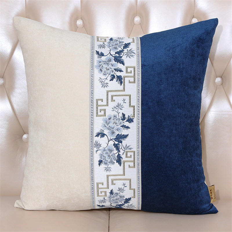 Embroidery White and Blue flower and geometry Pillowcase New Chinese style Home Living Room Comfortable <font><b>50x50</b></font> cm <font><b>cushion</b></font> <font><b>cover</b></font> image