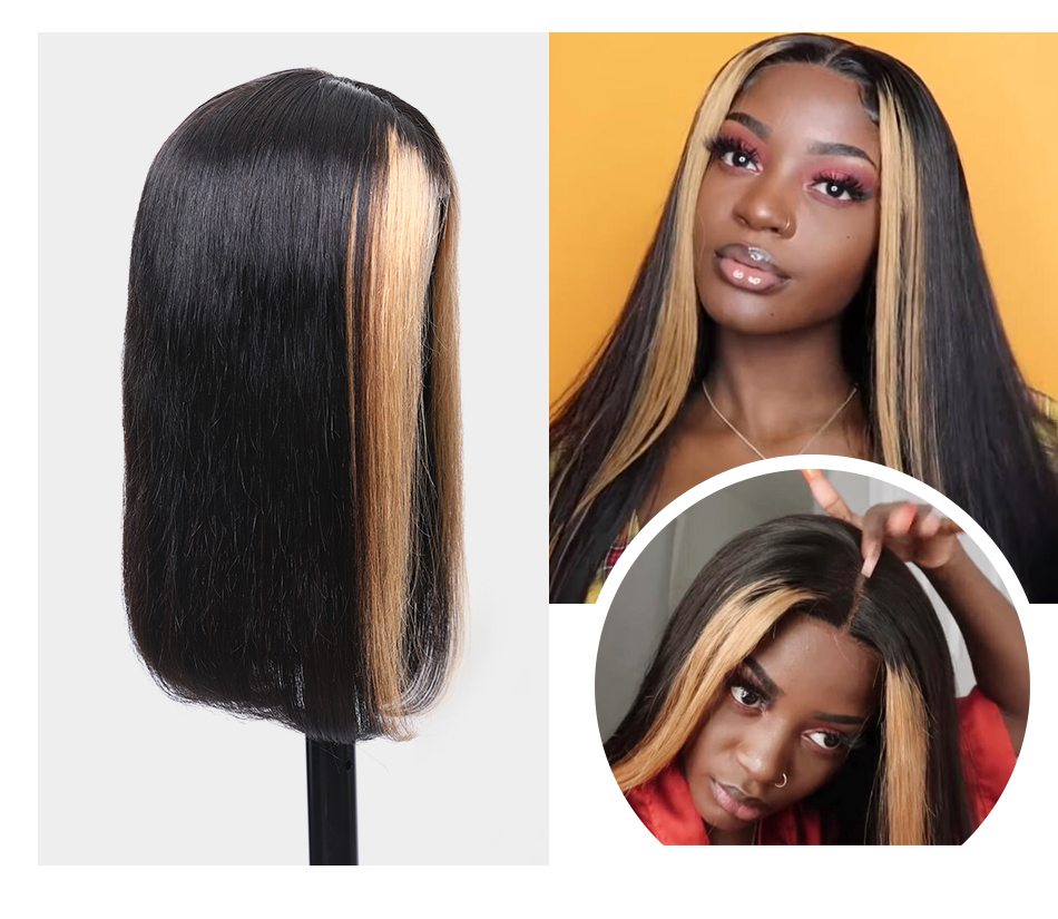 H39484fd94a224811970c736aa73a2688A Nadula Wig 13*4 Lace Front Wigs For Women Ombre Color With Highlight Human Hair Wig Brazilian Straight Lace Frontal Wigs