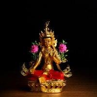 Buddhist Alloy Metal Exquisite Colored Efficacious Tibetan Bodhisattva Green Tara Buddha Gilding Statue Putting Decoration R2446