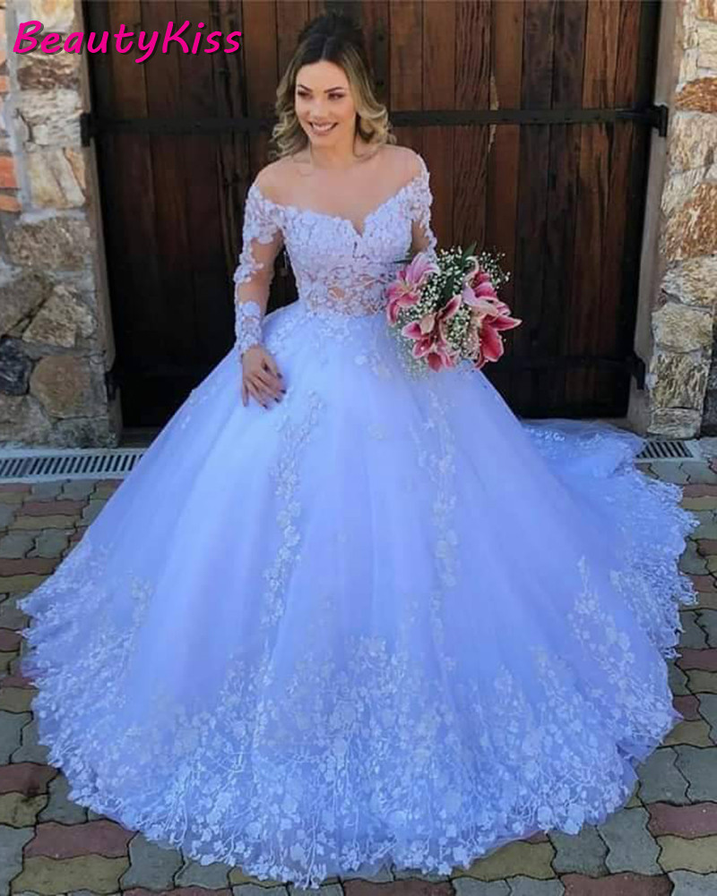 White Princess Ball Gown Wedding Dress 2020 Lace Appliques Long Sleeves Wedding Gowns Plus Size Robe De Mariee