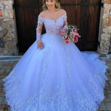Ball-Gown Wedding-Gowns Long-Sleeves White Princess Plus-Size Robe-De-Mariee Appliques
