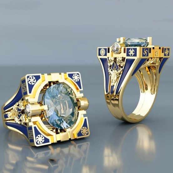 1pc ผู้ชายผู้หญิงสีเหลืองทองแหวน Vintage ชายหญิงรอบใหญ่ Zircon แหวนแฟชั่น Blue Matel Love งานแต่งงานแหวน