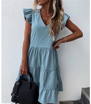 Summer Dress 2021 Women Polka Dot Street Sexy Casual Loose Thin Beach Party Dress Plus Size V Neck Mini Dress Female Vestidos 2