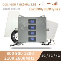 LTE B20 800 850 1800 2100 2600 Mhz dört bantlı hücresel amplifikatör 4G sinyal tekrarlayıcı GSM 2G 3G 4G mobil sinyal güçlendirici DCS WCDMA