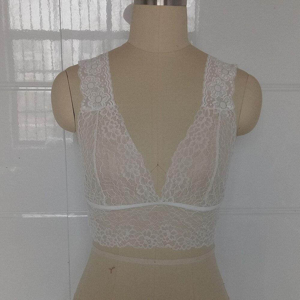 New Arrival Women Sexy Lace Floral Hollow Out Bralette Bra Bustier V-neck Crop Top Transparent Lingerie Underwear S-XXXL