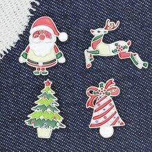 Веселые Рождественские Броши заколки Санта Клаус колокольчики Рождественская елка значки лося Брошь женские куртки лацкан булавка детские ювелирные изделия подарки