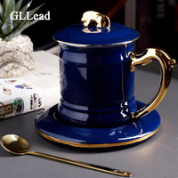 GLLead Creative Blue Black Tea Cup Green Ceramic Coffee Mug 350ML Office Teacup Porcelain With Lid and Spoon Fashion Gift