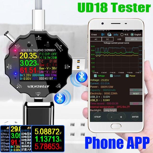 UD18 USB 3.0 18in1 USB tester APP dc digital voltmeter ammeter voltimetro power bank voltage detector volt meter electric doctor