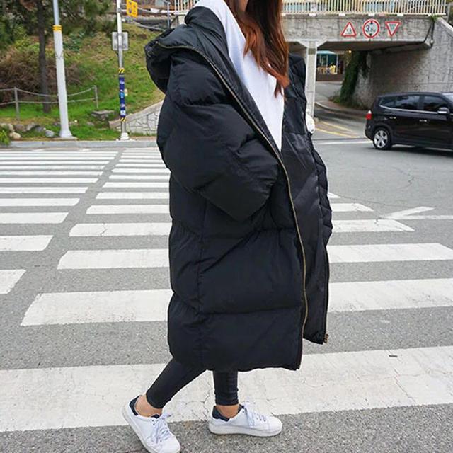 Automne hiver veste femmes Parka chaud épais Long duvet coton manteau femme lâche Oversize à capuche femmes hiver manteau survêtement Q1933 2