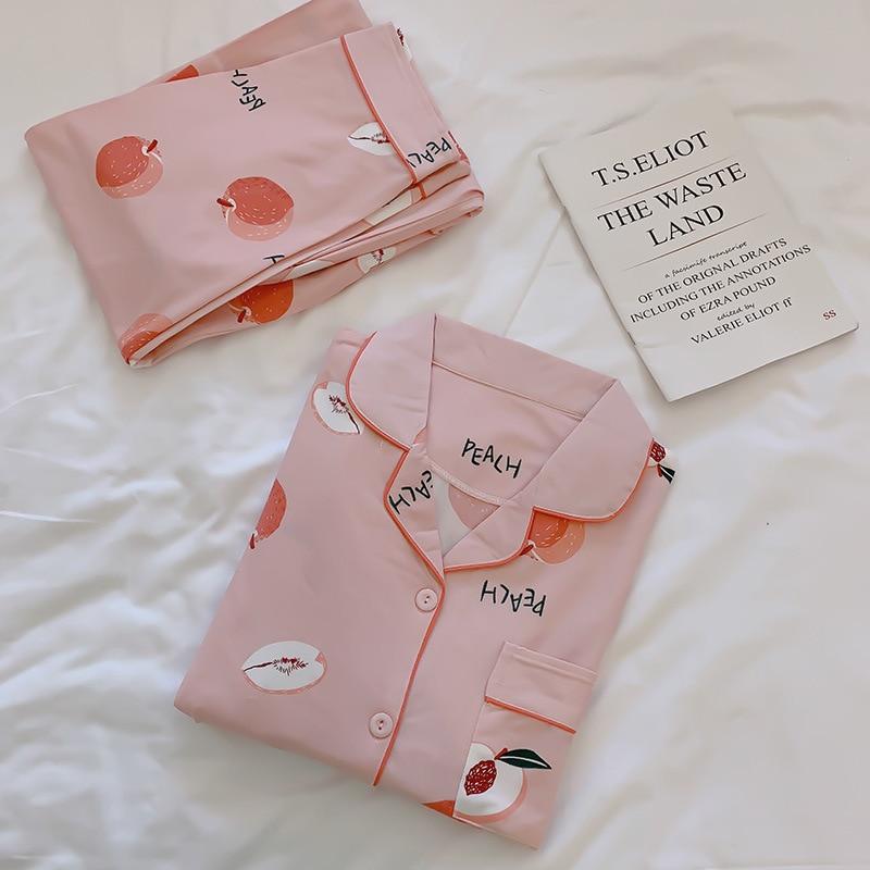 2019 Women Cotton Pajamas Sets with Pants Long Sleeve Turn-down Collar with Pocket Pyjama Cute Cartoon Button Top+Pants Pijama 37