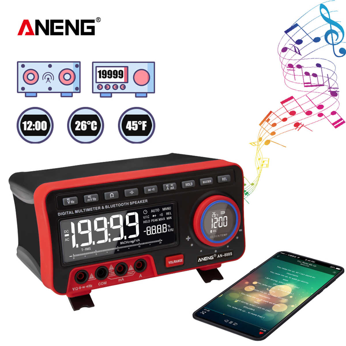 ANENG AN888S BT Audio มัลติมิเตอร์นาฬิกาปลุกดิจิตอลจอแสดงผลแรงดันไฟฟ้า Meter 19999 นับช่วงอัตโนมัติ Universal เมตร