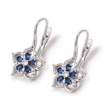 MxGxFam, Королевский синий цветок, амулеты, серьги-кольца для женщин, модные ювелирные изделия, родий, золото, цвет AAA+ кубический циркон, хорошее качество