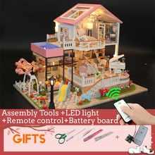 Diy casa de bonecas móveis com luzes led miniatura 3d madeira miniaturas casa casa brinquedos para crianças presentes natal