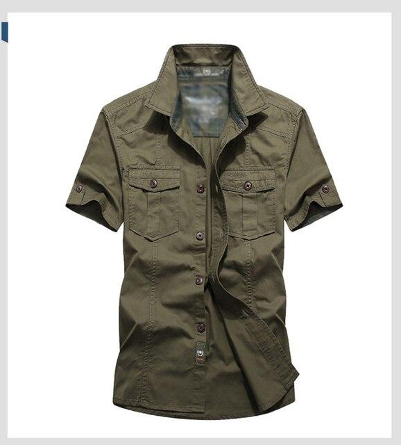 Летняя рубашка с коротким рукавом в военном стиле 4