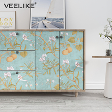 Floral Painted Paper Wall Stickers Removable Home Decor Living Room Non Woven Self Adhesive Wallpaper in Roll Bedroom Decoration