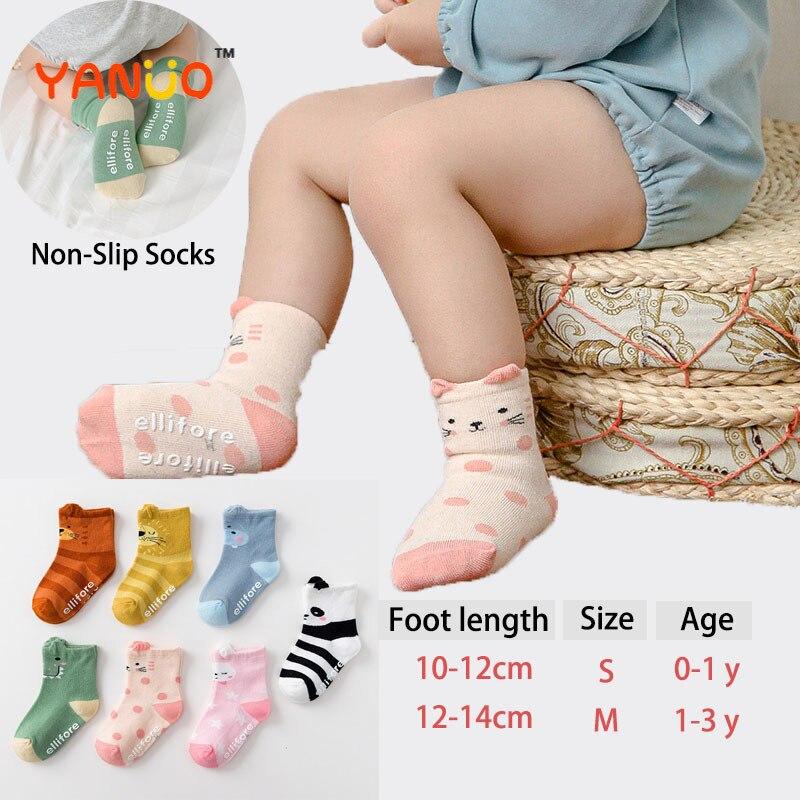 Calcetines de lindos animales para bebés recién nacidos, calcetines antideslizantes con dibujos animados para niños de 0 a 3 años, accesorio de ropa de otoño