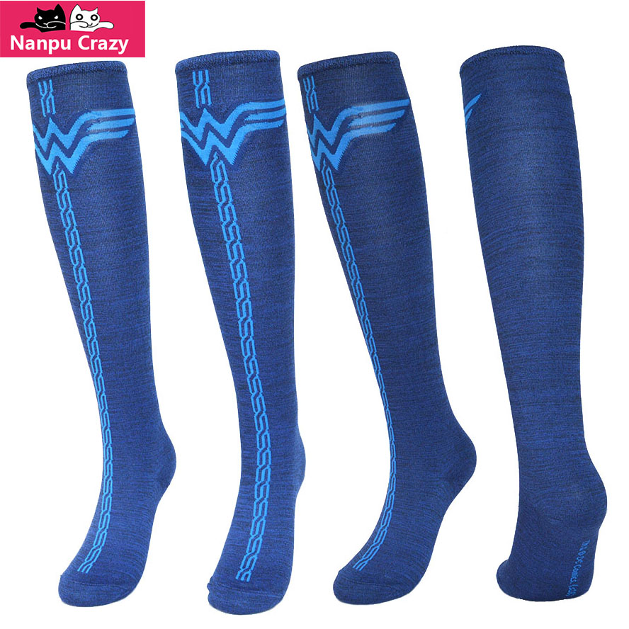 Socks Cartoon Wonder Women Sock Men Cotton Knee High Stocking Halloween Cosplay Long Sock Skateboard Cycling Running Sport Socks