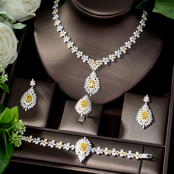 HIBRIDE Luxury Bridal Engagement Wedding Jewelry Set Shiny Zircon Necklace Earring Bracelet Ring Sets for Women Bijoux N-453