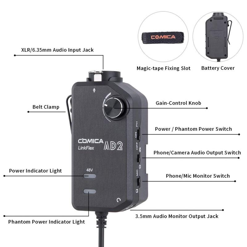 Горячая 3C-Comica LINKFLEX. AD2 XLR/6,35 мм, с 48В Мощность, в режиме реального времени монитор, XLR Сделано в Китае/гитара фрезерный станок адаптер сопряжени...